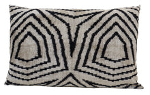 Load image into Gallery viewer, VISTA WHITE - IKAT SILK/VELVET PILLOW