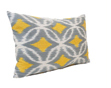 Load image into Gallery viewer, YELLOW STARS- IKAT SILK PILLOW