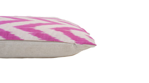 Pink ZigZag- IKAT SILK PILLOW