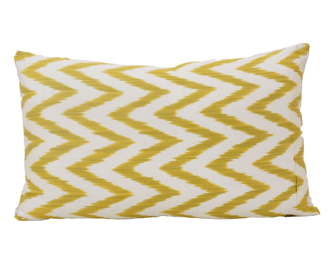 Yellow ZigZag- IKAT SILK PILLOW