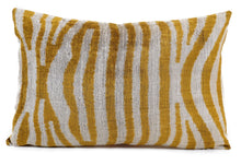 Load image into Gallery viewer, YELLOW LEOPARD- IKAT SILK/VELVET PILLOW