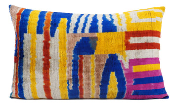 INTRICEATE COLORS- IKAT SILK/VELVET PILLOW