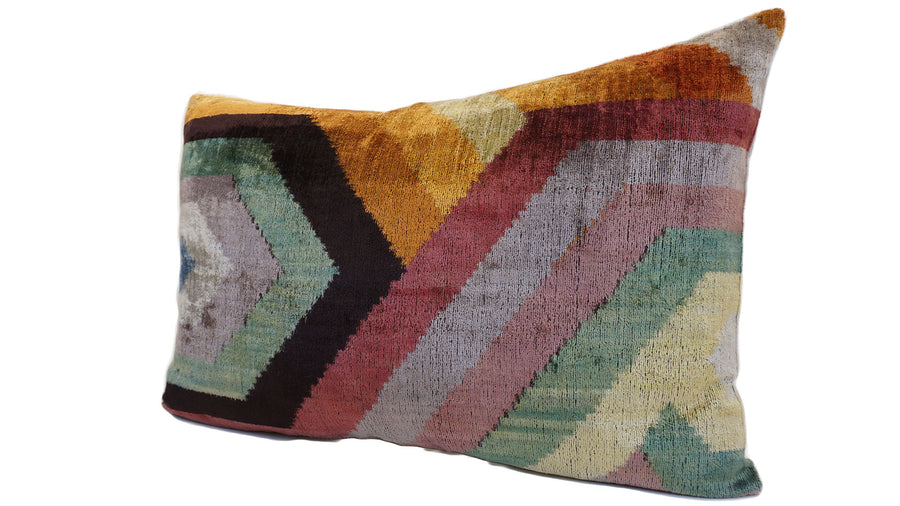 RODEO DUST- IKAT SILK/VELVET PILLOW