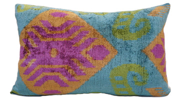 ATLANTIS GREEN  DESIGN- IKAT VELVET PILLOW