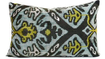 BONDI BLUE DESIGN- IKAT VELVET PILLOW
