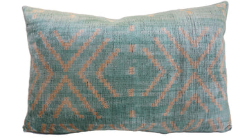 PERSIANS BLUE DESIGN- IKAT VELVET PILLOW