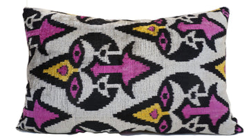 DARK MAGENTA DESIGN- IKAT VELVET PILLOW