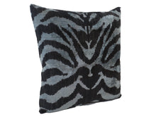 Load image into Gallery viewer, BLACK ZEBRA- IKAT SILK/VELVET PILLOW