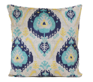 PICTON BLUE- IKAT SILK/VELVET PILLOW