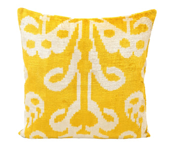 CANARY YELLOW- IKAT SILK/VELVET PILLOW