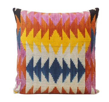 Multicolored Triangles- IKAT SILK/VELVET PILLOW