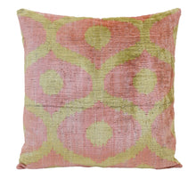 Load image into Gallery viewer, Gimblet Pink- IKAT SILK/VELVET PILLOW