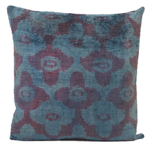 Load image into Gallery viewer, Astronaut Blue- IKAT SILK/VELVET PILLOW
