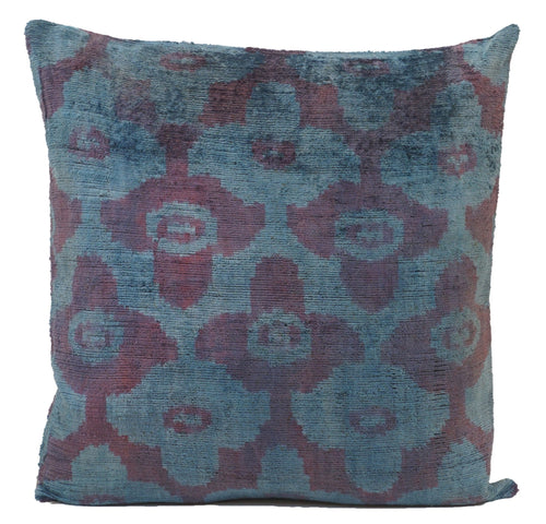 Astronaut Blue- IKAT SILK/VELVET PILLOW