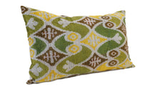 Load image into Gallery viewer, FERN FROND- IKAT SILK/VELVET PILLOW