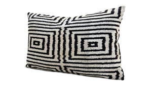 ETERNITY BLACK- IKAT SILK/VELVET PILLOW