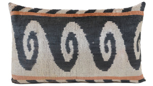 BRONZETONE BROWN- IKAT SILK/VELVET PILLOW