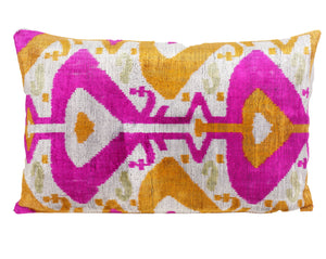 CERISE- IKAT SILK/VELVET PILLOW