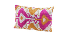 Load image into Gallery viewer, CERISE- IKAT SILK/VELVET PILLOW