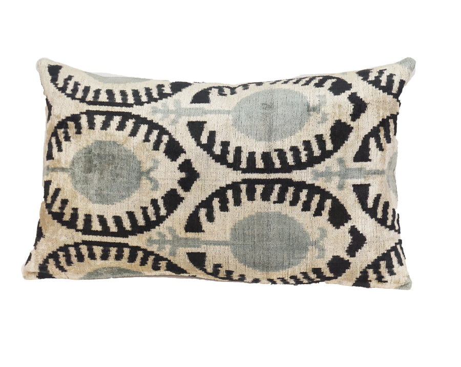 PALE SLATE- IKAT SILK/VELVET PILLOW