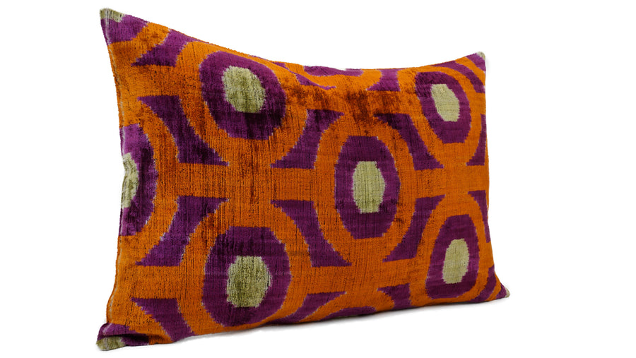 TAHITI GOLD- IKAT SILK/VELVET PILLOW