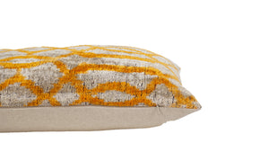 ANZAC WHITE- IKAT SILK/VELVET PILLOW