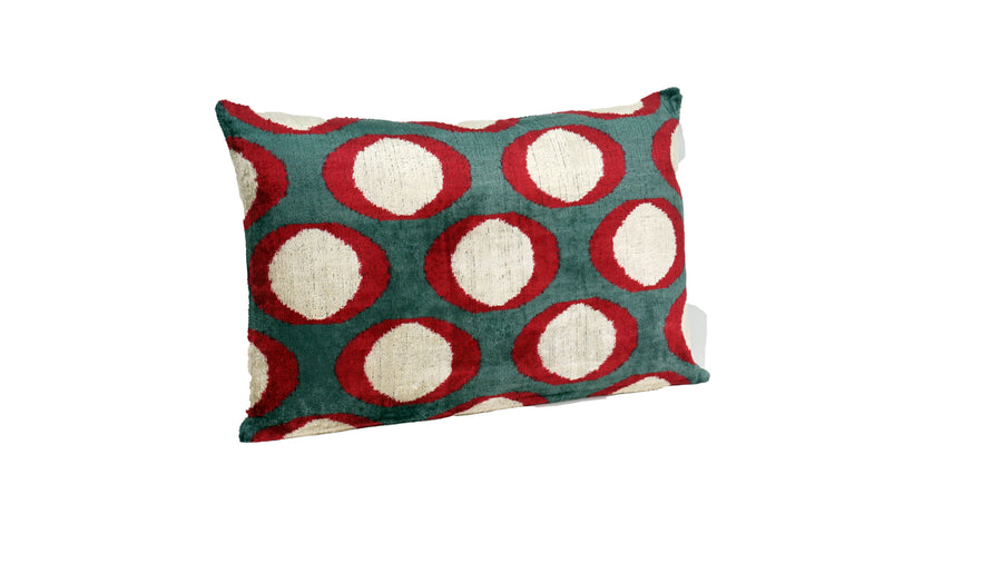 WATERLOO RED- IKAT SILK/VELVET PILLOW
