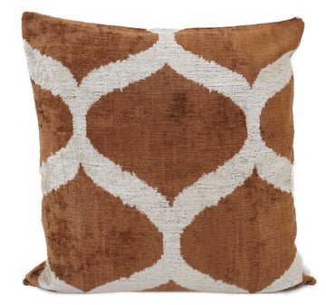 KORMA BROWN- IKAT SILK/VELVET PILLOW