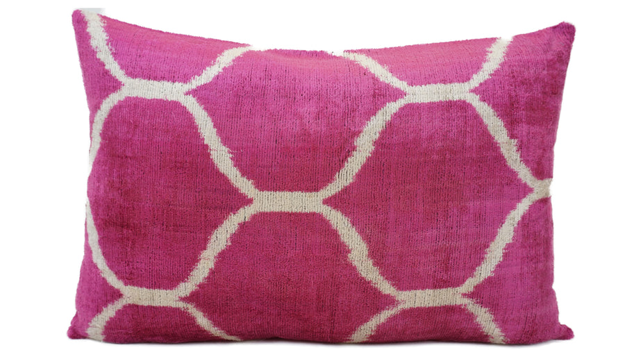 HOLLYWOOD PINK- IKAT SILK/VELVET PILLOW