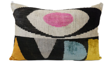 EGYPTIAN EYES- IKAT SILK/VELVET PILLOW
