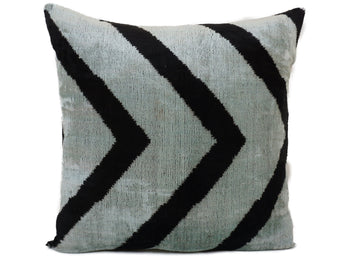 SPINDLE BLUE- IKAT SILK/VELVET PILLOW