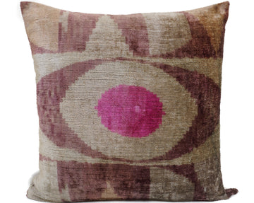 EGYPTIAN EYES SOLID- IKAT SILK/VELVET PILLOW