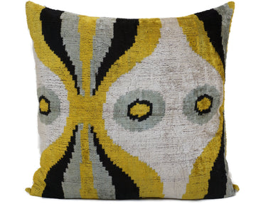 WOODLAND GREEN EYES - IKAT SILK/VELVET PILLOW