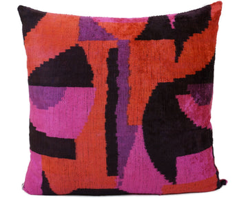 CERISE RED- IKAT SILK/VELVET PILLOW