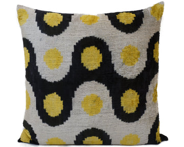 RIPE LEMON- IKAT SILK/VELVET PILLOW