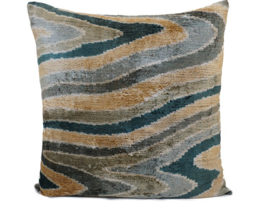 GREEN DAMASK- IKAT SILK/VELVET PILLOW