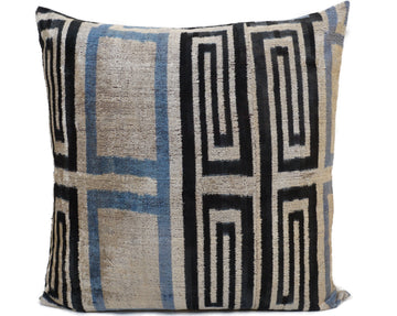 MARTINIQUE BLACK- IKAT SILK/VELVET PILLOW