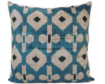 CORNFLOWER BLUE- IKAT SILK/VELVET PILLOW