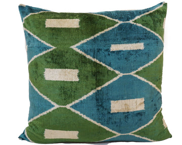 KILLARNEY GREEN- IKAT SILK/VELVET PILLOW