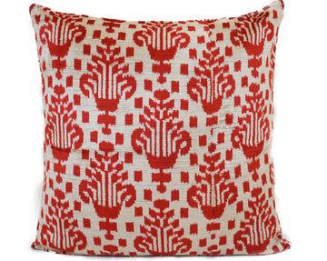 PERISIAN RED- IKAT SILK/VELVET PILLOW