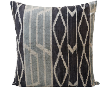 WATERLOO BLUE- IKAT SILK/VELVET PILLOW