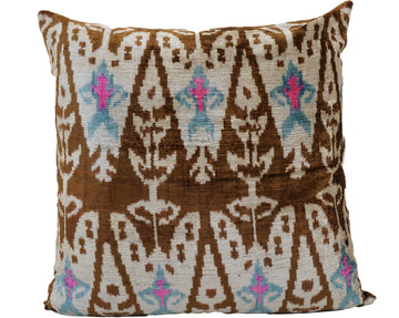 LEATHER BROWN- IKAT SILK/VELVET PILLOW