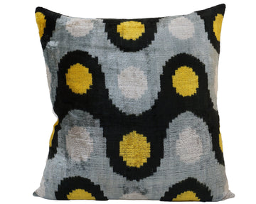 YELLOW METAL- IKAT SILK/VELVET PILLOW