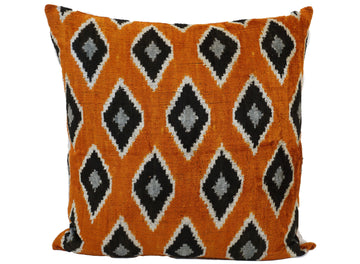 GOLDEN GRASS- IKAT SILK/VELVET PILLOW