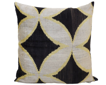 BLACK STAR- IKAT SILK/VELVET PILLOW