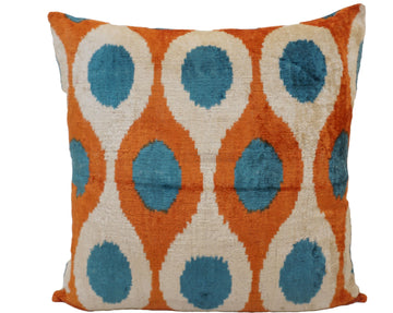 PUMPLINK BLUE-IKAT SILK/VELVET PILLOW