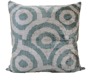 SILVER RUST -IKAT SILK/VELVET PILLOW