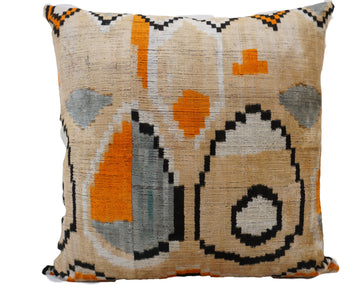 TANGO ON WHEAT - IKAT SILK/VELVET PILLOW