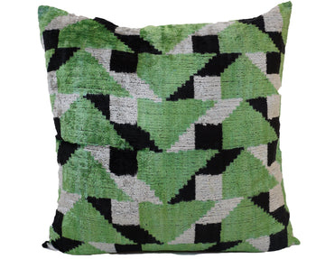 FOREST GREEN- IKAT SILK/VELVET PILLOW