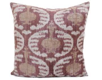 CELESTE BROWN- IKAT SILK/VELVET PILLOW